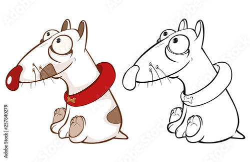 Foto auf AluDibond Babyzimmer Vector Illustration of a Cute Cartoon Character Hunting Dog for you Design and Computer Game. Coloring Book Outline