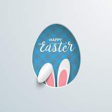 Easter Egg Hole Hare Ears Blue Checked Towel