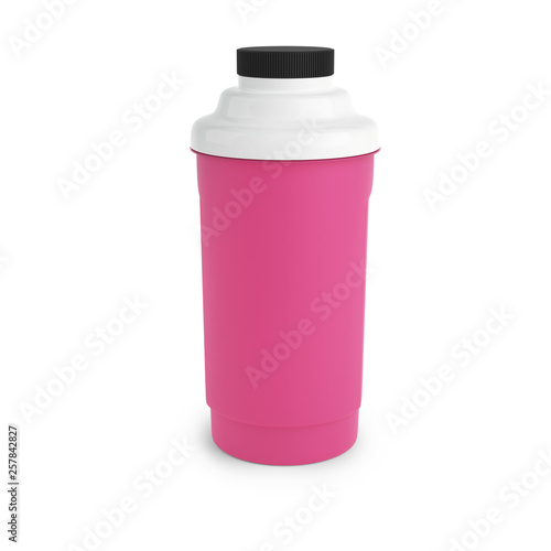 Fotografia  Pink nutrition shaker with black and white cap