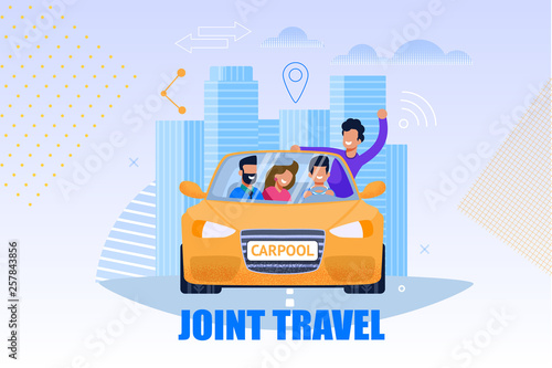 Cartoon voitures Joint Travel Service Illustration. Carpool Concept