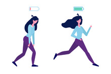 Full Of Energy And Tired Businesswoman With Full Charge And Uncharged Battery Flat Style Concept.  Vector Illustration