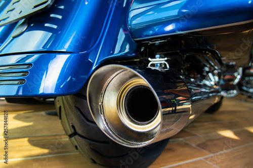 Fototapeta Motorcycle exhaust system. Chrome exhaust pipe. Back view obraz na płótnie