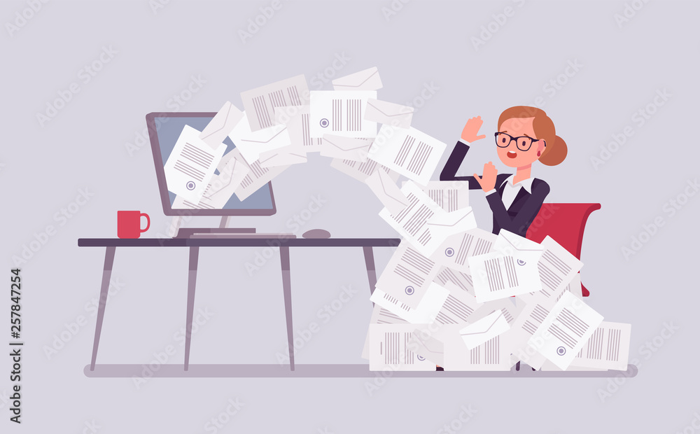 Fototapeta Paper avalanche for businesswoman. Female office worker overloaded with paperwork from computer, heap of business letters and online documents, busy clerk in routine, bureaucracy. Vector illustration