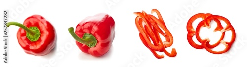 Canvastavla Set of red paprika pepper top view isolated on white background