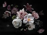Fototapeta Kwiaty - Beautiful garden flowers on black. Floral card. Vintage.