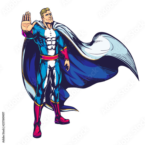 Foto op Canvas Piraten Muscular male superhero in a raincoat makes stopping hand sign