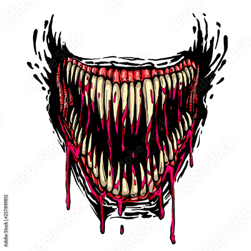 Valokuva evil fanged jaw with dripping blood