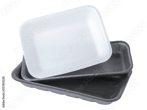 Set of two black and one white empty food tray Canvas Print