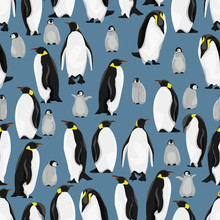 Seamless Pattern. Emperor Penguins And Their Chicks In Different Poses On A Blue Background. Realistic Birds Of The Antarctic. Vector For Packaging, Paper, Prints And Cards