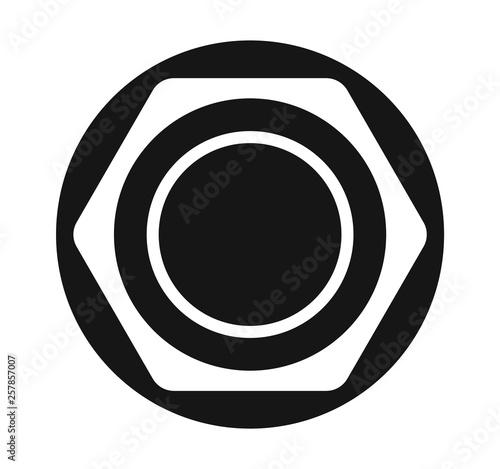 Hex nut flat icon vector Fototapet