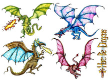 Design Set With Fantasy Dragon...