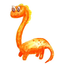 Orange Long Neck A Kind Friendly Cartoon Dinosaur Isolated On White Background In Watercolor Style