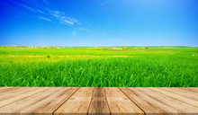 Brown Wood Table Against Green Grass And Blue Sky, For Montage Product Display Or Design Key Visual Layout Background.