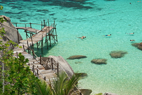 Canvas Prints Green coral The bridge extends into the sea.Wood bridge beautiful .Koh Tao, Thailand.Summer sea travel.Summer beach travel.