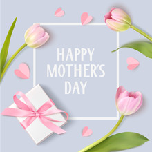 Happy Mothers Day. Spring Holiday Design Template With Pink Tulip White Gift Box And Paper Hearts On Blue Background.
