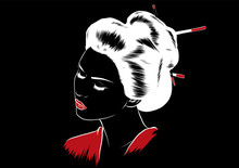 Beautiful Japanese Geisha Holds Red Fan Vector Illustration.