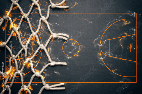 Basketball banner background. Abstract dark basketball background with copy space.