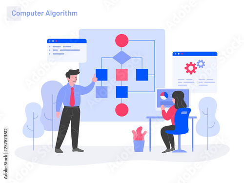 Computer Algorithm Illustration Concept Wallpaper Mural