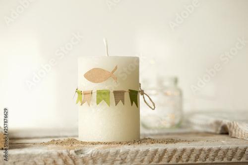 Canvas Kommunion, Konfirmation , Taufe - weiße Kerze mit Wimple Girlande in  grün und K