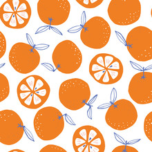 Whimsical Colorful Hand-drawn Abstract Doodle Oranges Vector Seamless Pattern On White Background. Summer Fruits