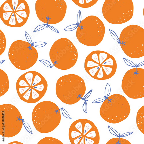 Whimsical colorful hand-drawn abstract doodle oranges vector seamless pattern on white background. Summer Fruits - 257878495
