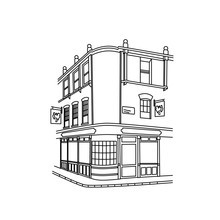 Continuous Line Hand Drawing Of A Street Corner With Buildings And Restaurant. Vector Illustration.