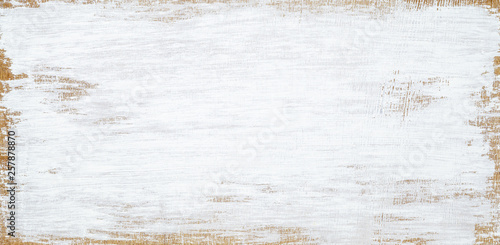 White painted wood texture seamless rusty grunge background, Scratched white paint on planks of wood wall. - 257878870