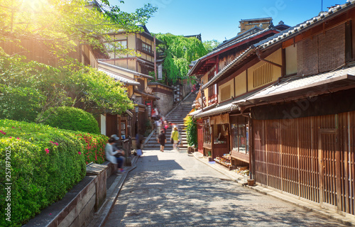 Wall Murals Kyoto View to small street with Sakura tree in Higashiyama district, Kyoto, Japan