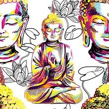 Buddha Seamless Pattern. Buddh...