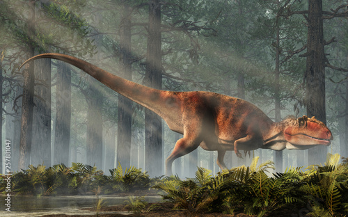 Naklejki dinozaury  giganotosaurus-one-of-the-largest-known-terrestrial-carnivores-was-a-carcharodontosaurid-theropod-dinosaur-the-creature-stands-in-a-forest-of-fir-trees-with-a-floor-of-ferns-3d-rendering