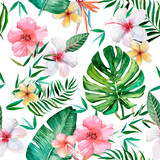Seamless pattern, tropical pattern with flowers, leaves,. Watercolor illustration.