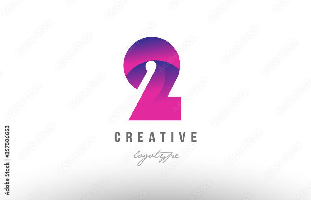 Fototapeta 2 two pink gradient number logo icon design