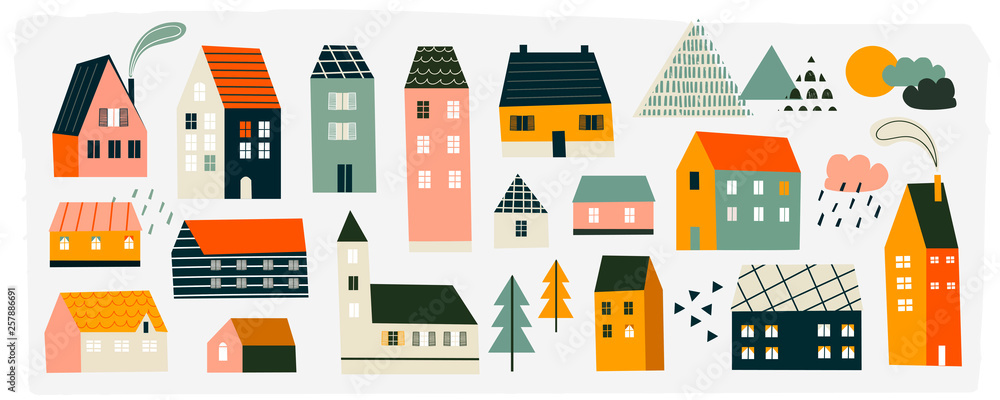 Fototapety, obrazy: Various small tiny houses, trees and mountains. Paper cut style. Flat design. Hand drawn trendy illustration. Big colored vector set. All elements are isolated