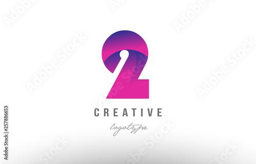 Fototapeta 2 two pink gradient number logo icon design obraz