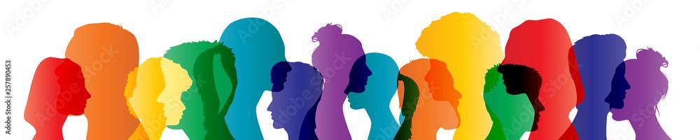 Fototapeta Colorful heads panorama banner community team