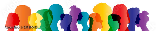 Fotografie, Tablou  Colorful heads panorama banner community team