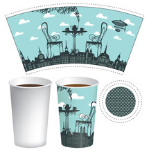 Vector Paper Cup Template For Hot Drink. Disposable Cup For Tea Or Coffee With A Street Cafe And Served Table On Two On A Background Of Old Town With Airship And Clouds.