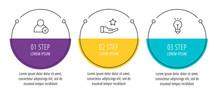 Modern Line Vector Illustration. Infographic Circles Template With Three Elements, Sectors, Icons. Designed For Business, Presentations, Web Design, Interface, Workflow Layout, Diagrams With 3 Steps
