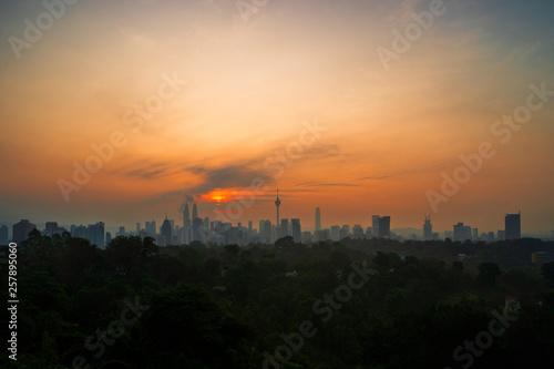 Timelapse Of Kuala Lumpur Cityscape During Sunrise.4k.Prores. Wallpaper Mural