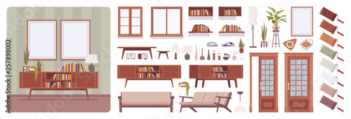 Living Room Interior Home Office Creation Set Lounge Relaxing