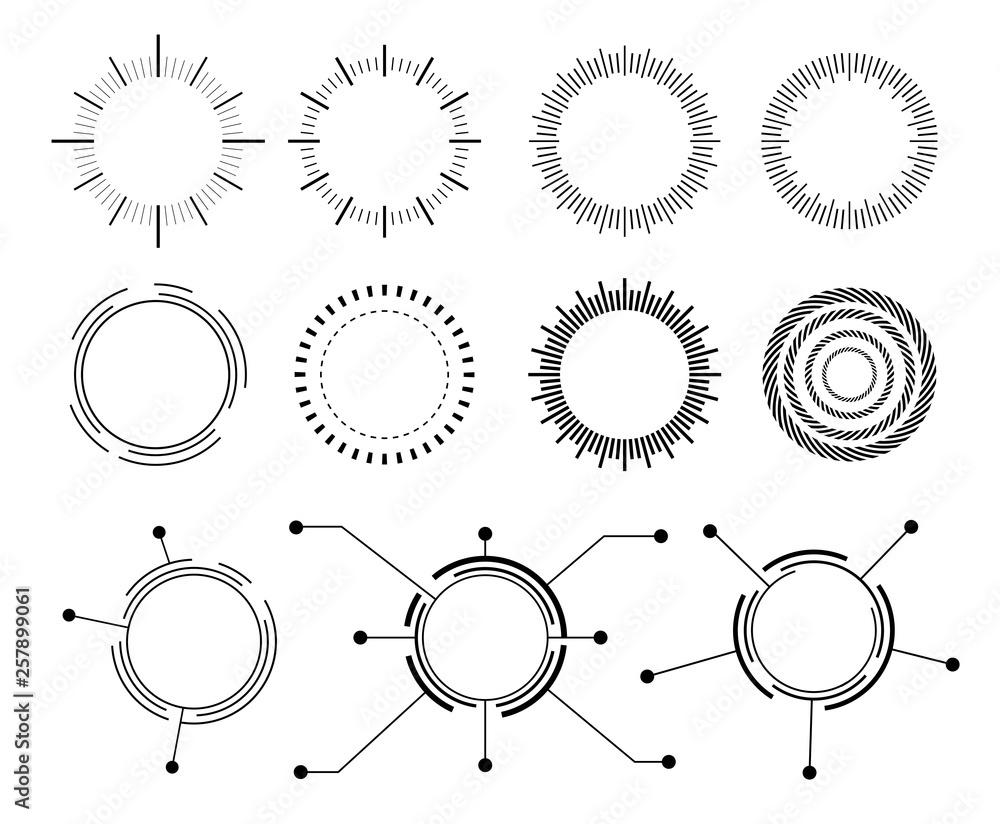 Fototapety, obrazy: Abstract techno circle. Vector set  icons