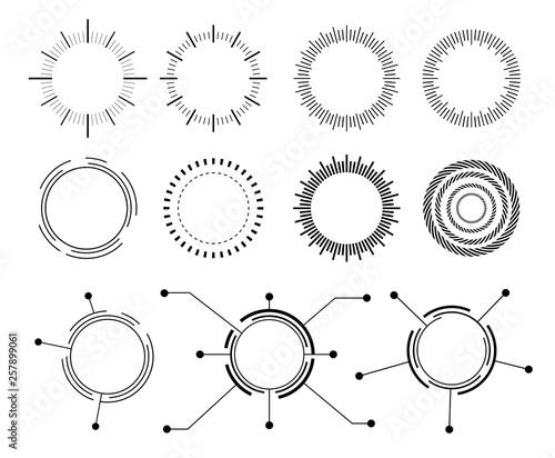 Photo  Abstract techno circle. Vector set  icons