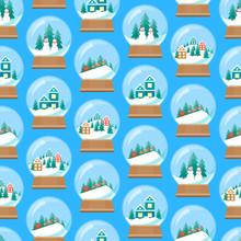 Cartoon Snow Globe Seamless Pattern Background. Vector