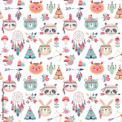 wzor-z-plemiennym-wzorem-cute-woodland-boho-krolik-sowa-lenistwo-panda-niedzwiedz-american-indian-zestaw