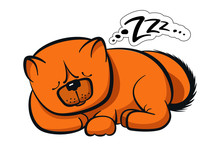 Sleeping Dog Chow-chow Red Color Bread With Buzz Bubble Sticker On The White Background Isolated In Cartoon Style.