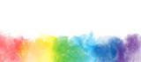 Fototapeta Tęcza - Rainbow watercolor artistic  border background isolated on white