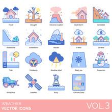 Weather Icons Including Flood, Drought, Volcano Eruption, Dust Storm, Landslide, Avalanche, Snow Storm, Glacier, El Nino, La Nina, Tide, Pollutants, Alert, Black Ice, Snowman, Sow Plow, Satellite.