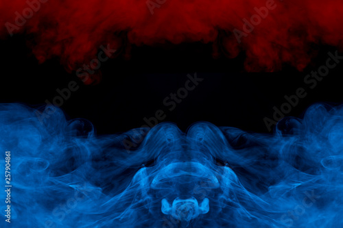 red and blue fantastic patterns formed by colored cigarette vapor on a dark back Canvas Print