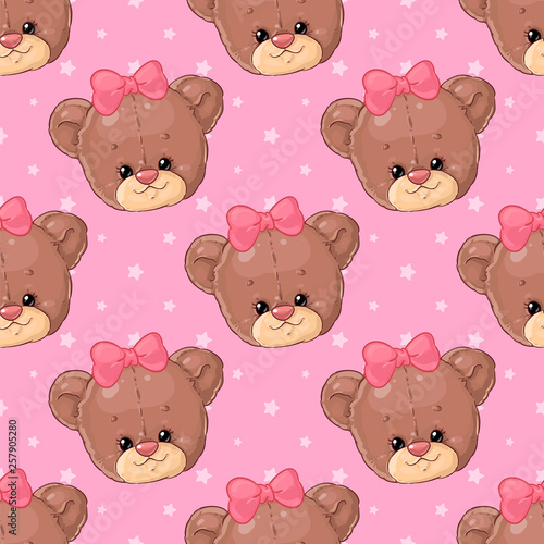 Teddy bear girl with hearts pattern. Cute children's design. Canvas Print