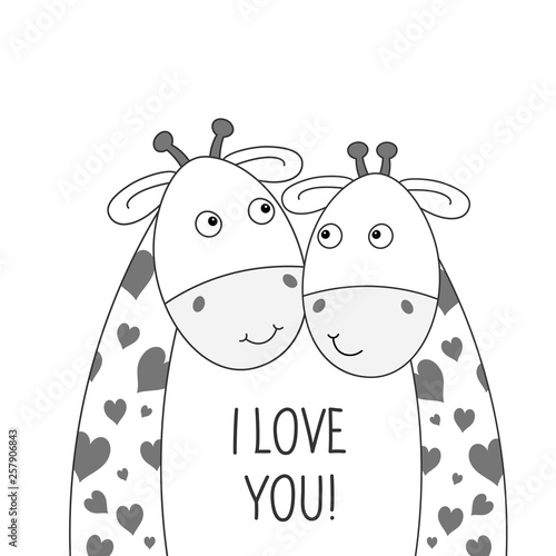Two happy lovely giraffes. Best friends. Greeting card to the valentines day.